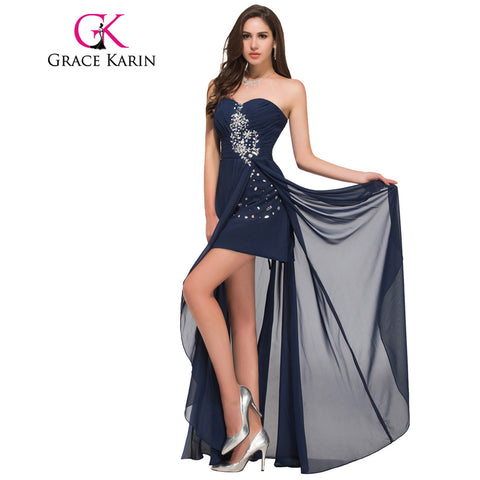 a1b3502e8e Grace Karin Long Evening Dress Short Front Long Back Strapless Chiffon High  Split Red Navy Blue