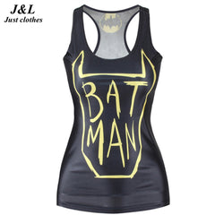 New Super Hero 3D Print Singlet Vests For Women Workout Top Fitness Tank Tops Fashion Female Print Tight Black Round Neck Vest