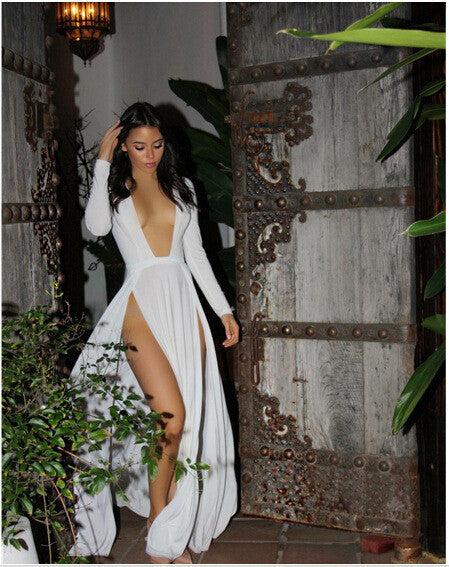 ... White red Celebrity Kim Kardashian Deep V Neck sleeveless Split Prom  Maxi Dress High Side ... 8d007c388