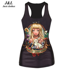 New 2016 Skull Skeleton Galaxy Girl Cartoon 3D Printed Tank Top Women Sleeveless Tops T- Shirt Summer Sexy Workout Vest Camisole