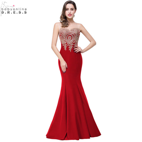 Robe de Soiree Longue Sexy Backless Red Mermaid Lace Evening Dress 2017 Long  Cheap Appliques Evening d604ea350de5