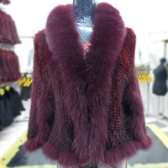 Autumn Winter Ladies' Genuine Knitted Mink Fur Shawls Fox Fur Collar Women Fur Pashmina Wraps Bridal Cape Coat Jacket