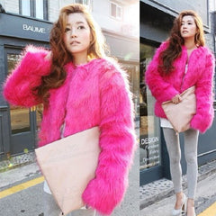 Plus Size 4XL 5XL Winter Sexy Women Mink Fur Rabbit Fur Coat Ladies Pink White Faux Fox Fur Jacket Fur Bolero Short Red Coats