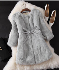 Natural Fur Coat New Winter Entire Skin Real Rabbit Fur Long Coat Korean Female Three Quarter Sleeve Soft Fur Coats With A Belt