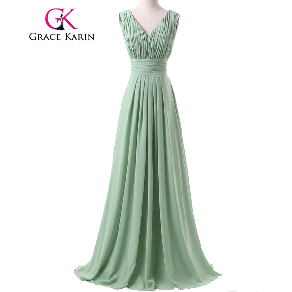 Grace Karin Charming Dark Sea Green Backless Long Bridesmaid Dresses Chiffon Floor Length Birthday Party Gown Ruched CL6205