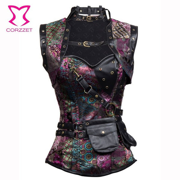 6xl Brown Sexy Corsets And Bustiers Gothic Steampunk Clothing Plus Siz