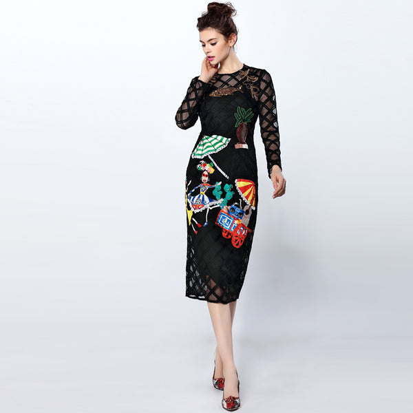 High Quality 2016 Fashion Runway Dress Women's Long Sleece Character Beading diamond embroidery Vintage Sexy Sheath Black Dress