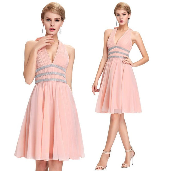 ... White Short Bridesmaid Dresses 2017 Halter V Neck Chiffon Junior Prom  Dresses Pink Black Cheap Sequin ... 1347bf5a7243