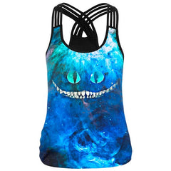3D Galaxy Lion Head Printed Women Top Fitness Camisole Tank Tops Sleeveless T Shirts Tees Gothic Punk Rock Sporting Clothes