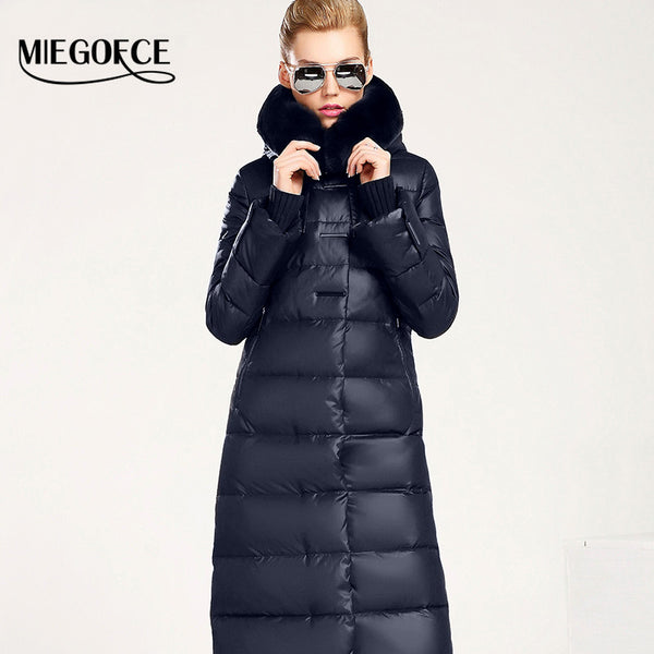 3fb123fcb Women Coat Jacket Medium Length Woman Parka With A Rabbit Fur Winter Thick  Coat Women MIEGOFCE 2017 New Winter Collection Hot