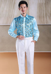 Men's glittering sequined shirt shirt stage performance clothing dance gala hosted chorus Shirts
