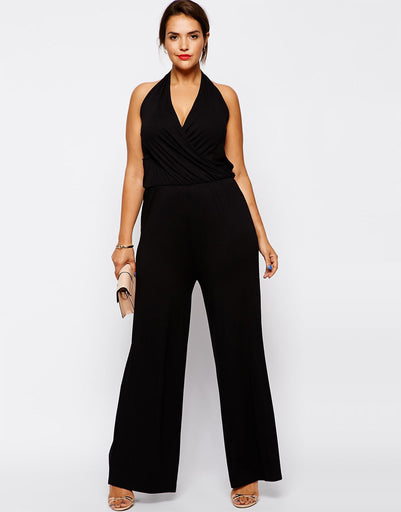 a41c7d0a9146 Plus Size Women Jumpsuits 6XL Sleeveless Women Rompers Black Halter Jumpsuit  Large Big Size Lady Summer