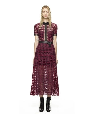 b38ab27a0da7 High-end custom self portrait purple red lace patchwork women long Dress  2017 fashion runway