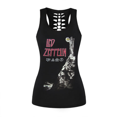 e2689191a137 Women Female Tank Top Sexy Black 3D Printed Vest Rock Style Led Zeppelin  Camisole Hollow Out