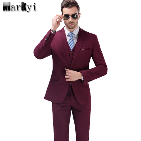 6e485d96a0 MarKyi 2017 Famous Brand Mens Suits Wedding Groom Plus Size 5XL 3 Pieces( Jacket+