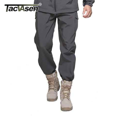 TACVASEN New Winter Shark Skin Soft Shell Tactical Military Camouflage Pants Men Waterproof  Warm Paintball Army Fleece Pant