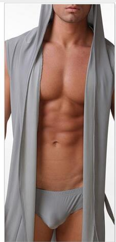 ... Men s robes comfortable casual bathrobes sleeveless Viscose sexy Hooded  robe homewear mens sexy sleepwear lounge clothes 19f0950e6