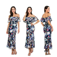 Runway Maxi Party Dress 2017 Women Party Wear Floor Length Slash Neck Strapless Floral Appliques Vintage Long Dress