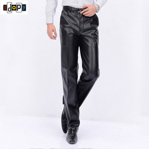 7cd8525e2df69 New Autumn Winter Mens Fashion PU Leather Pants Men Faux Leather Loose  Straight Motorcycle Windproof Trousers