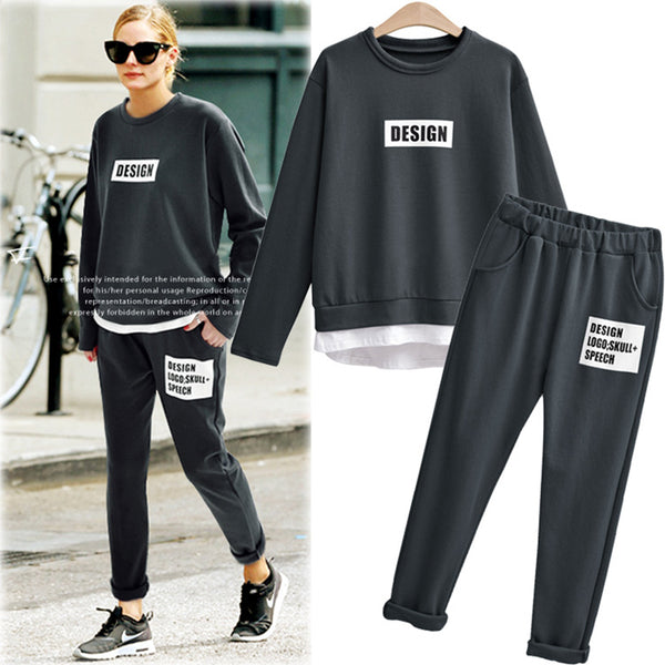 49516a5212a5 Casual Two Piece Set Tracksuit Trainingspak Sweat Suits Women Grey Bei