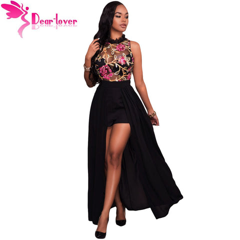 869a2547619 Dear-Lover Long jumpsuits Summer Short Overalls Black Sheer Mesh Embroidery  Sleeveless Chiffon Club Party