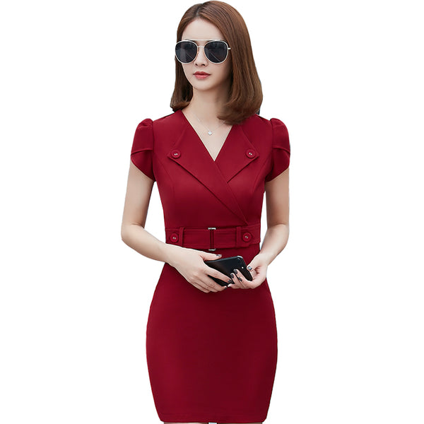 summer office dress women elegant business work wear dress