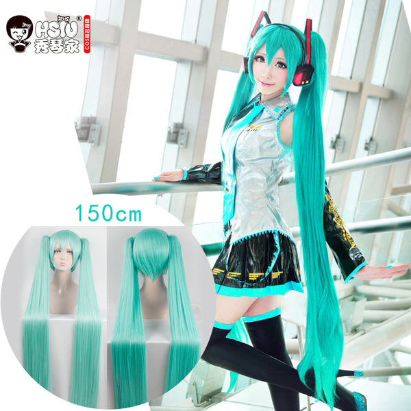 HSIU High Quality VOCALOID Cosplay Wig Hatsune Miku Costume Play Wigs Halloween party Anime Game Hair 150cm  Aquamarine wig