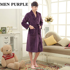 Luxury Men Women Winter Long Warm Bathrobe Super Soft Flannel Bath Robe Mens Coral Fleece Kimono Robes Male Lounge Dressing Gown