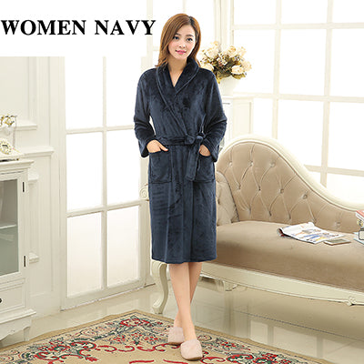 9dd95b3278 ... Luxury Men Women Winter Long Warm Bathrobe Super Soft Flannel Bath Robe  Mens Coral Fleece Kimono ...