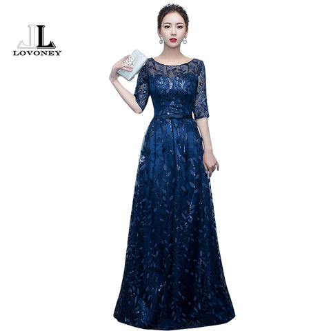 875c072ed9 LOVONEY Long Evening Dress 2017 Hot Sale Scoop Neck Half Sleeves Navy Blue  Lace Up Formal