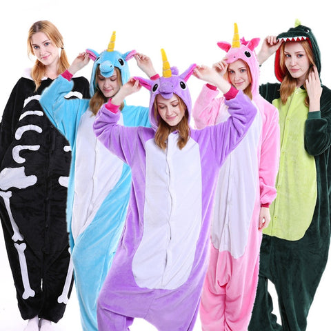 PSEEWE Unicorn Stitch Panda Unisex Flannel Pajamas Adults anime cosplay  Animal Onesies Sleepwear Hoodie For Women e280fe835893c