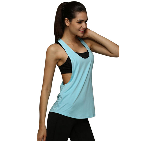 775208ac92b1b S-XXL Summer Sexy Fitness Clothes Women Tank Tops Loose Workout Sleeve