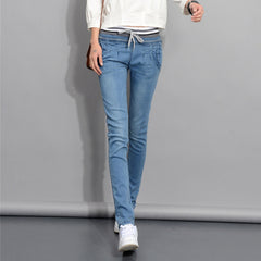 2017 Autumn Slim Fit long denim pants lager Size elastic waist trousers thin Ribbed Casual Strap Women jeans Blue Pencil Pants
