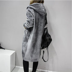 2017 Autumn New Open Velvet Women Hooded Basic Coats jacket Casual Lady Winter Long Fashion Black Winter Jacket Women A3386