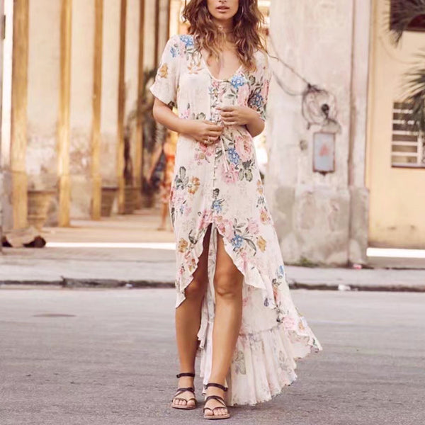 7d7c068a0151 Boho maxi Dresses 2017 rayon and cotton Floral print hippie summer dre