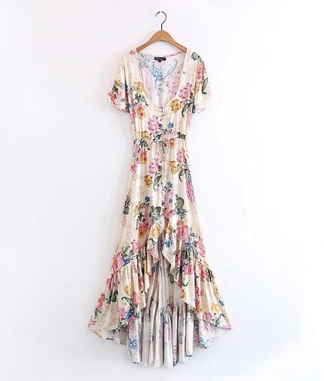 36a82e10e73d ... Boho maxi Dresses 2017 rayon and cotton Floral print hippie summer dress  short sleeve large swing