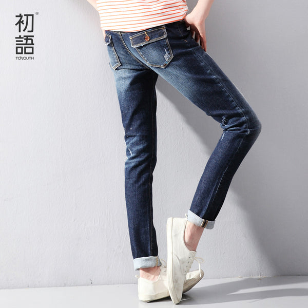 Toyouth Spring New Women Jeans Slim Elastic Straight Trousers Ladies Fashion Full Length Casual Jeans