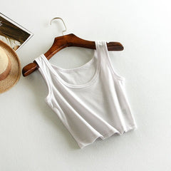 2017 Summer Slim Render Short Top Women Sleeveless U Croptops Tank Tops Solid Black/White Crop Tops Vest Tube Top 8 Color