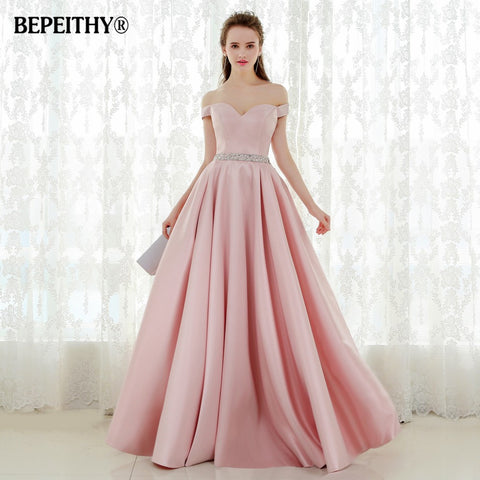 e1dd9143fd7 Vestido De Festa A-line Long Evening Dress Vintage Off The Shoulder Prom  Dresses Crystal