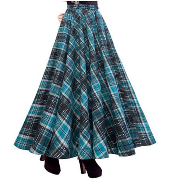 b540ad661 Vintage Long Skirt Winter Women Plaid Skirts,Saias,Faldas,High Waist W