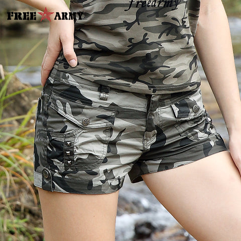 56f989c57389 Free Army Brand Fashion Shorts 2017 Summer New Design Casual Women's Shorts  Mid Waist Military Camouflage