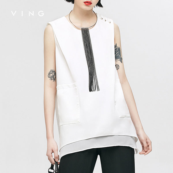 VING Funny Tanks 2017 Summer Wommen Mock Pocket Asymmetry Tank Top