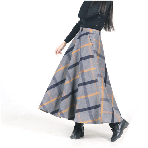 c18923b564 2017 Autumn Winter Women Skirt British Style 50s Vintage Wool Maxi Skirt  Classical Plaid Thick Warm