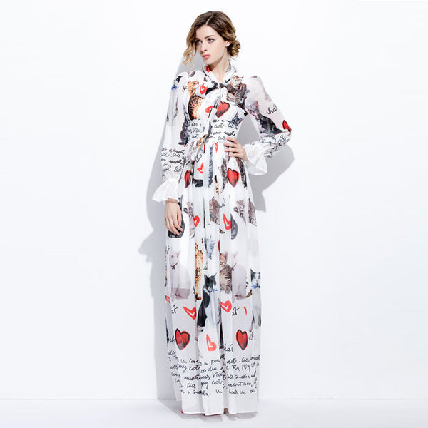 Custom Plus Size Dress S-7XL 2017 Sping Newest Cute Stand Neck Full Flare  Sleeve Cat Print Elegant Ankle-Length Long Dress Women
