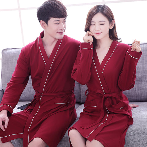 cc607bd956 2017 Spring Autumn Couple Bathrobe 100% Cotton Quality Long Gown Sleepwear  Men   Women Long