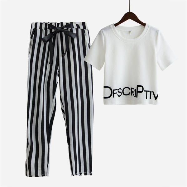 Womens Set Summer White Letter Printed T Shirt Sexy Cropped Tops +Striped Pants Calf Length Casual Tracksuit  S65347R