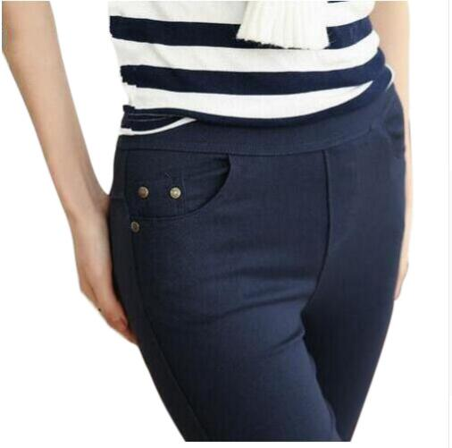 2017 Plus Size Women's Pencil Pants Women Casual Capris White Black Navy Color Female Bottoming Pants Brand Slim Trousers