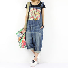 2016 women's new spring and summer Loose hole plus size casual bib pants hip-hop 7 Jean  jumpsuit