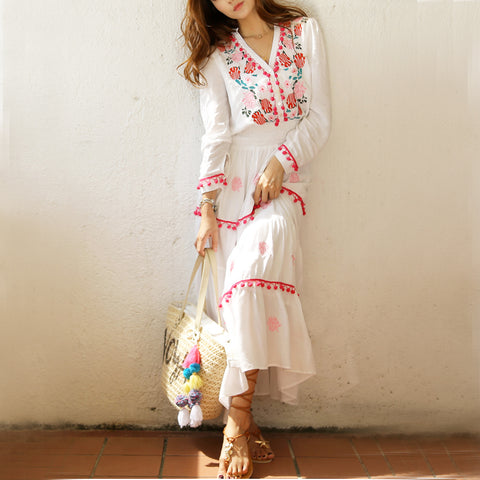 be13ca7633 Flower Embroidery Maxi Dress Summer V-neck Sexy Long Sleeve Sunscreen Bohemian  Hippie Chic Ethnic