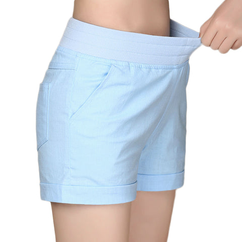 2017 European and American BF summer wind female candy color high waist linen shorts women loose elastic waist shorts plus size